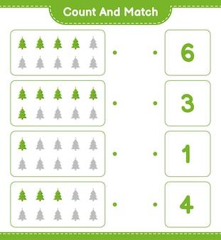 Zähle und stimme überein, zähle die anzahl der weihnachtsbäume und stimme mit den richtigen zahlen überein. pädagogisches kinderspiel