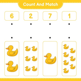 Zähle und vergleiche die anzahl der gummienten und kombiniere mit den richtigen zahlen