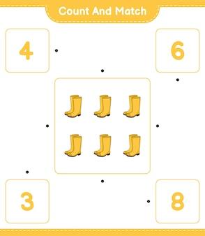 Zähle und vergleiche die anzahl der gummistiefel und kombiniere mit den richtigen zahlen