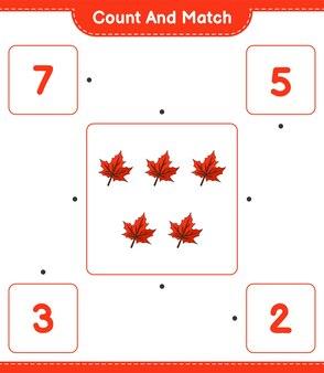 Zähle und vergleiche die anzahl der maple leafs und ordne sie den richtigen zahlen zu