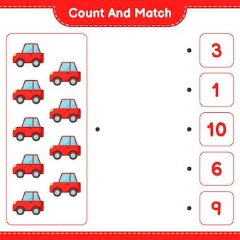 Zähle und vergleiche, zähle die anzahl der autos und vergleiche mit den richtigen zahlen. pädagogisches kinderspiel, druckbares arbeitsblatt, vektorillustration