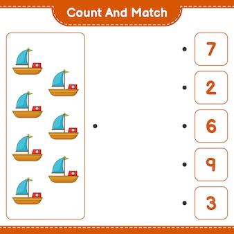 Zähle und vergleiche, zähle die anzahl der boote und vergleiche mit den richtigen zahlen. pädagogisches kinderspiel, druckbares arbeitsblatt, vektorillustration