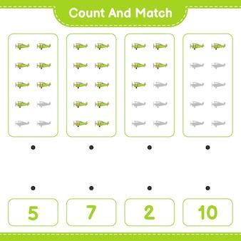 Zähle und vergleiche, zähle die anzahl der flugzeuge und vergleiche mit den richtigen zahlen. lernspiel für kinder, arbeitsblatt zum ausdrucken