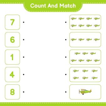 Zähle und vergleiche, zähle die anzahl der flugzeuge und vergleiche mit den richtigen zahlen. pädagogisches kinderspiel, druckbares arbeitsblatt, vektorillustration