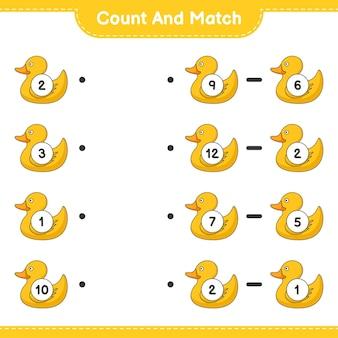 Zähle und vergleiche, zähle die anzahl der gummienten und vergleiche mit den richtigen zahlen. lernspiel für kinder, arbeitsblatt zum ausdrucken