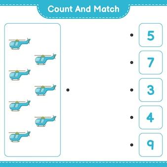 Zähle und vergleiche, zähle die anzahl der hubschrauber und vergleiche mit den richtigen zahlen. pädagogisches kinderspiel, druckbares arbeitsblatt, vektorillustration