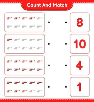 Zähle und vergleiche, zähle die anzahl der hubschrauber und vergleiche mit den richtigen zahlen.