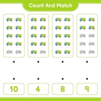 Zähle und vergleiche, zähle die anzahl der lastwagen und ordne die richtigen zahlen zu. lernspiel für kinder, arbeitsblatt zum ausdrucken