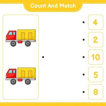 Zähle und vergleiche, zähle die anzahl der lastwagen und ordne die richtigen zahlen zu. pädagogisches kinderspiel, druckbares arbeitsblatt, vektorillustration