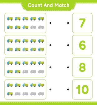 Zähle und vergleiche, zähle die anzahl der lastwagen und ordne die richtigen zahlen zu.