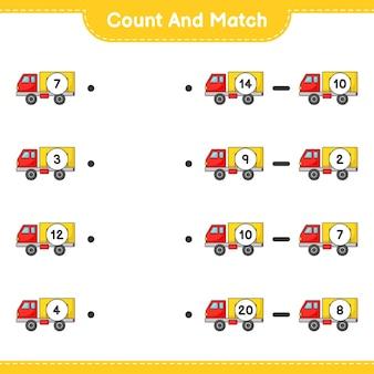 Zähle und vergleiche, zähle die anzahl der lkws und ordne die richtigen zahlen zu lernspiel für kinder, arbeitsblatt zum ausdrucken