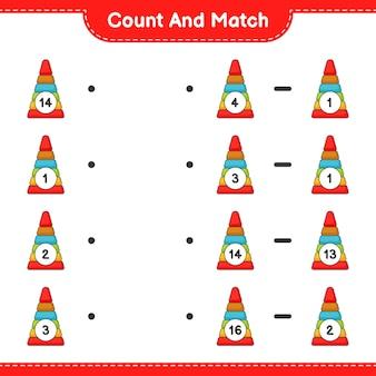 Zähle und vergleiche, zähle die anzahl der pyramidenspielzeuge und kombiniere die richtigen zahlen. lernspiel für kinder, arbeitsblatt zum ausdrucken