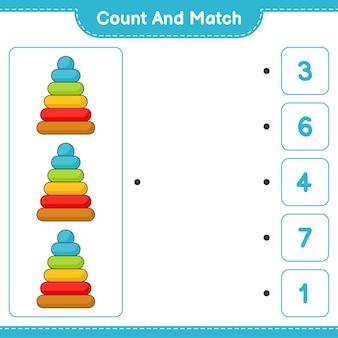 Zähle und vergleiche, zähle die anzahl der pyramidenspielzeuge und kombiniere mit den richtigen zahlen. pädagogisches kinderspiel, druckbares arbeitsblatt, vektorillustration