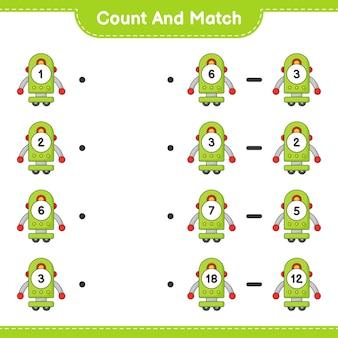 Zähle und vergleiche, zähle die anzahl der robotercharaktere und vergleiche mit den richtigen zahlen. lernspiel für kinder, arbeitsblatt zum ausdrucken