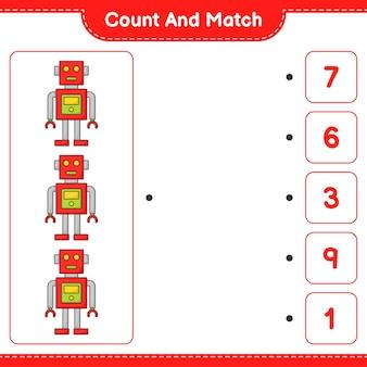 Zähle und vergleiche, zähle die anzahl der robotercharaktere und vergleiche mit den richtigen zahlen. pädagogisches kinderspiel, druckbares arbeitsblatt, vektorillustration