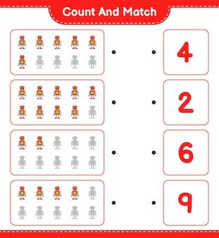 Zähle und vergleiche, zähle die anzahl der robotercharaktere und vergleiche mit den richtigen zahlen.