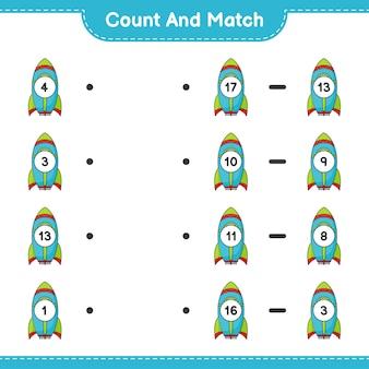 Zähle und vergleiche, zähle die anzahl der rocket und ordne die richtigen zahlen zu lernspiel für kinder, arbeitsblatt zum ausdrucken