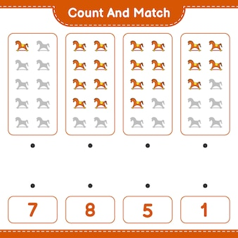 Zähle und vergleiche, zähle die anzahl der schaukelpferde und vergleiche mit den richtigen zahlen. lernspiel für kinder, arbeitsblatt zum ausdrucken