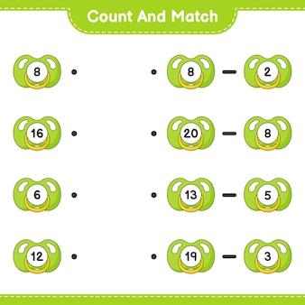 Zähle und vergleiche, zähle die anzahl der schnuller und vergleiche mit den richtigen zahlen. lernspiel für kinder, arbeitsblatt zum ausdrucken