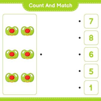 Zähle und vergleiche, zähle die anzahl der schnuller und vergleiche mit den richtigen zahlen. pädagogisches kinderspiel, druckbares arbeitsblatt, vektorillustration