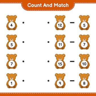 Zähle und vergleiche, zähle die anzahl der teddybären und ordne die richtigen zahlen zu. lernspiel für kinder, arbeitsblatt zum ausdrucken