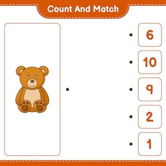 Zähle und vergleiche, zähle die anzahl der teddybären und ordne die richtigen zahlen zu. pädagogisches kinderspiel, druckbares arbeitsblatt, vektorillustration
