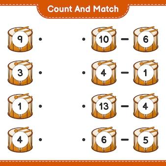 Zähle und vergleiche, zähle die anzahl der trommeln und vergleiche mit den richtigen zahlen. lernspiel für kinder, arbeitsblatt zum ausdrucken