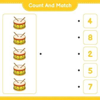 Zähle und vergleiche, zähle die anzahl der trommeln und vergleiche mit den richtigen zahlen. pädagogisches kinderspiel, druckbares arbeitsblatt, vektorillustration