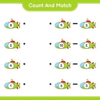 Zähle und vergleiche, zähle die anzahl der u-boote und vergleiche mit den richtigen zahlen. lernspiel für kinder, arbeitsblatt zum ausdrucken