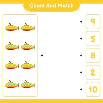 Zähle und vergleiche, zähle die anzahl der u-boote und vergleiche mit den richtigen zahlen. pädagogisches kinderspiel, druckbares arbeitsblatt, vektorillustration