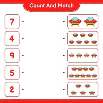 Zähle und vergleiche, zähle die anzahl der ufos und vergleiche mit den richtigen zahlen. pädagogisches kinderspiel, druckbares arbeitsblatt, vektorillustration