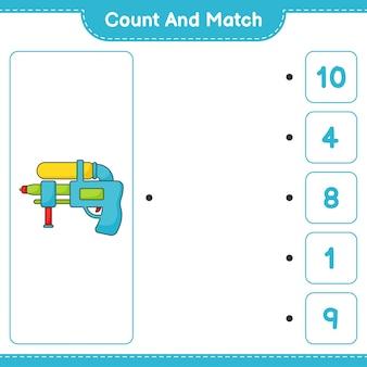 Zähle und vergleiche, zähle die anzahl der wasserpistolen und kombiniere mit den richtigen zahlen. pädagogisches kinderspiel, druckbares arbeitsblatt, vektorillustration