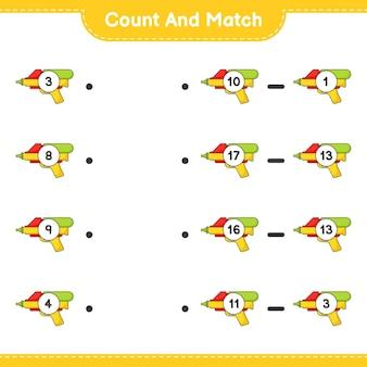 Zähle und vergleiche, zähle die anzahl der wasserpistolen und ordne die richtigen zahlen zu. lernspiel für kinder, arbeitsblatt zum ausdrucken
