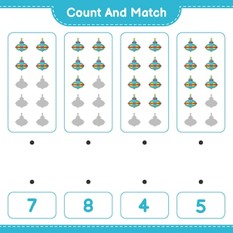 Zähle und vergleiche, zähle die anzahl der whirligig-spielzeuge und ordne die richtigen zahlen zu. lernspiel für kinder, arbeitsblatt zum ausdrucken