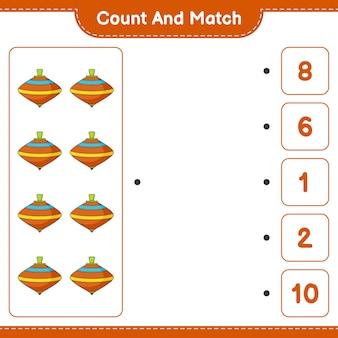 Zähle und vergleiche, zähle die anzahl der whirligig-spielzeuge und ordne die richtigen zahlen zu. pädagogisches kinderspiel, druckbares arbeitsblatt, vektorillustration