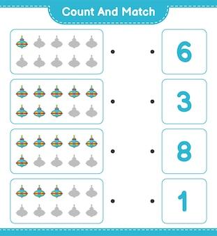 Zähle und vergleiche, zähle die anzahl der whirligig-spielzeuge und ordne die richtigen zahlen zu.