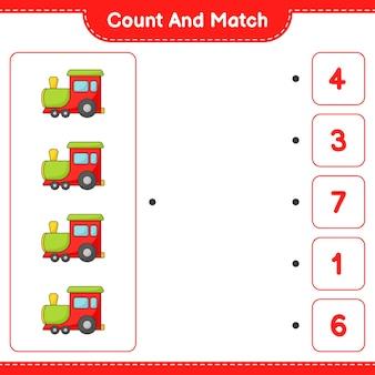 Zähle und vergleiche, zähle die anzahl der züge und vergleiche mit den richtigen zahlen. pädagogisches kinderspiel, druckbares arbeitsblatt, vektorillustration