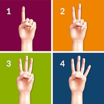 Zählen der hände von eins bis vier designkonzept mit quadratischen farbigen symbolen realistische illustration
