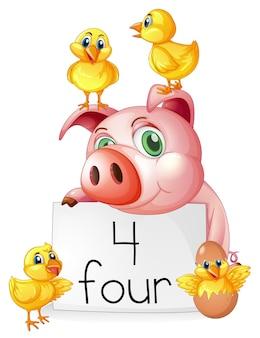 Zählen nummer vier mit schwein und küken