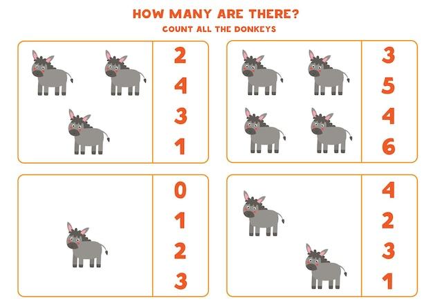 Zählen sie alle esel auf dem bauernhof und kreisen sie die richtigen antworten ein. mathe-spiel für kinder.