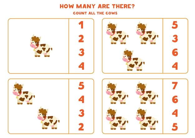 Zählen sie alle farmkühe und kreisen sie die richtigen antworten ein. mathe-spiel für kinder.