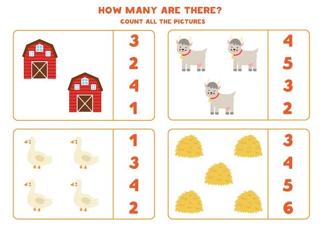 Zählen sie alle nutztiere und kreisen sie die richtigen antworten ein. mathe-spiel für kinder.