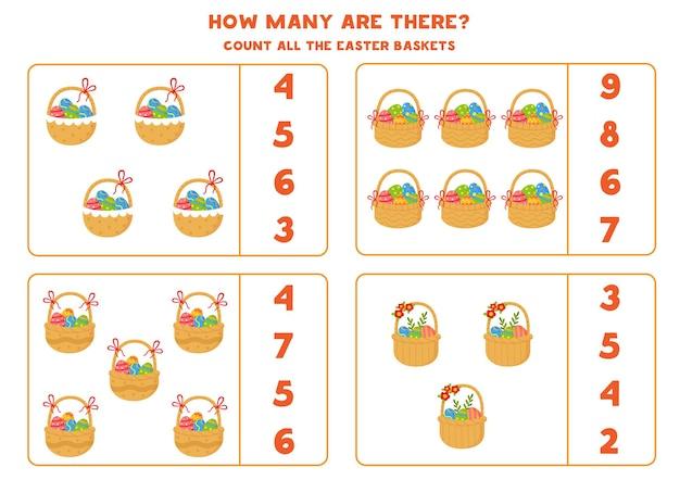 Zählen sie alle osterkörbe voller eier