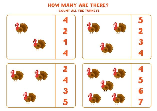 Zählen sie alle truthähne und kreisen sie die richtigen antworten ein. mathe-spiel für kinder.