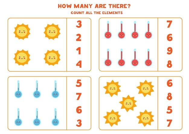 Zählen sie alle wetterelemente und kreisen sie die richtigen antworten ein. mathe-spiel für kinder.