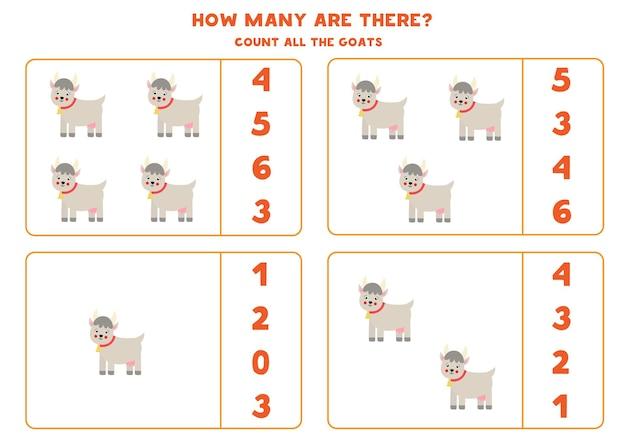 Zählen sie alle ziegen und kreisen sie die richtigen antworten ein. mathe-spiel für kinder.