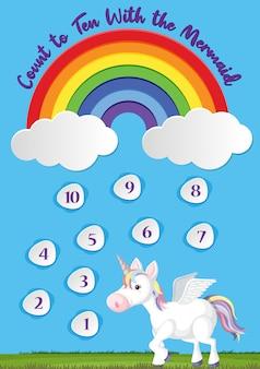 Zählen sie bis zehn für die vorschule im regenbogen- und einhornthemahintergrund