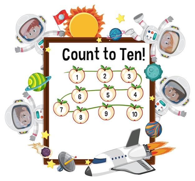 Zählen sie bis zehn nummernschilder mit vielen kindern in astronautenkostümen