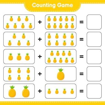 Zählen sie das spiel, zählen sie die anzahl der ananas und schreiben sie das ergebnis.