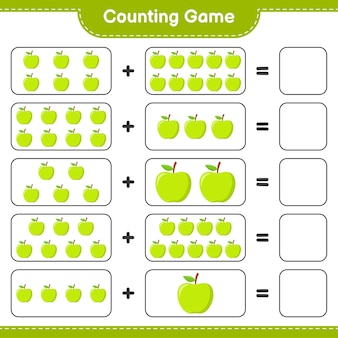 Zählen sie das spiel, zählen sie die anzahl der apple und schreiben sie das ergebnis.